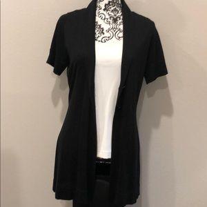 WHBM 100% Black Silk Cardigan